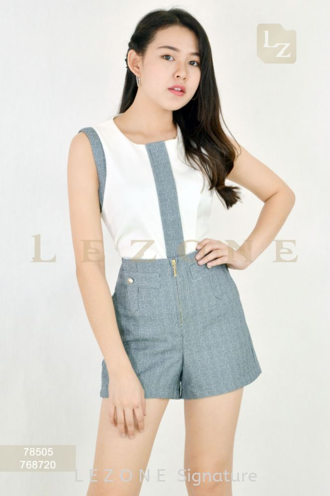 78505 + 768720 CONTRAST SLEEVELESS BLOUSE WITH SHORT PANTS 【1st 10% 2nd 20% 3rd 30%】