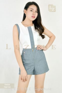 78505 + 768720 CONTRAST SLEEVELESS BLOUSE WITH SHORT PANTS 【30% 40% 50%】