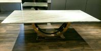 Modern Dining Set - Italian White Marble Marble Dining Table