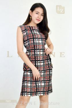 7221 PLUS SIZE LINEN PLAID DETAIL DRESS【MEMBER SALE 45% NON-MEMBER SALE 35%】