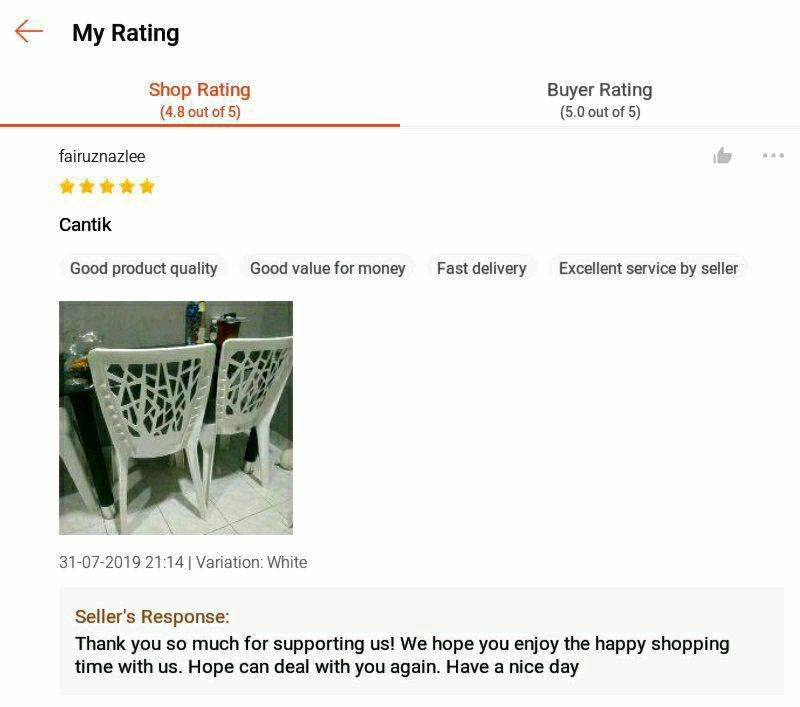 Customer Feedback 4 Units 3V EZY High Quality Stackable Dining Plastic Chair