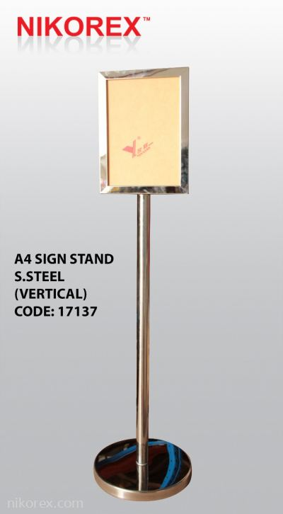 17137 - A4 Sign Stand S.Steel (Vertical)