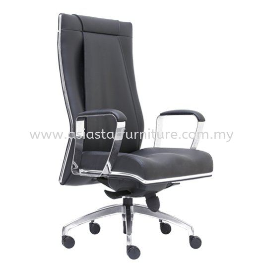 SEDIA DIRECTOR HIGH BACK LEATHER OFFICE CHAIR WITH CHROME TRIMMING LINE - director office chair uptown pj   director office chair centrepoint bandar utama   director office chair selayang