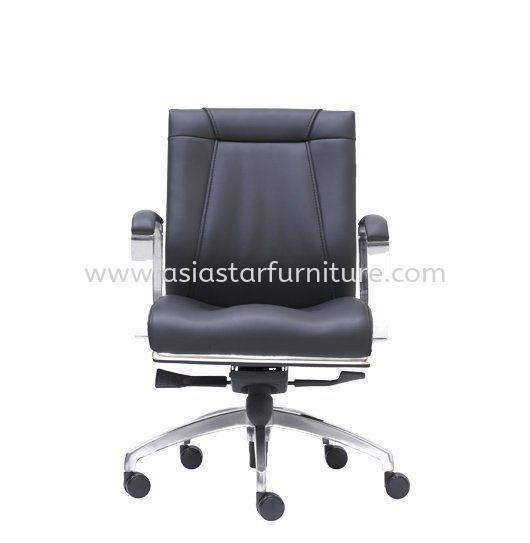 SEDIA DIRECTOR LOW BACK LEATHER CHAIR WITH CHROME TRIMMING LINE