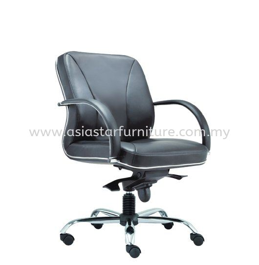 CERIA DIRECTOR LOW BACK LEATHER CHAIR WITH CHROME TRIMMING LINE