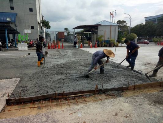 Construction -Concreting Factory Floor Slab In Shah Alam