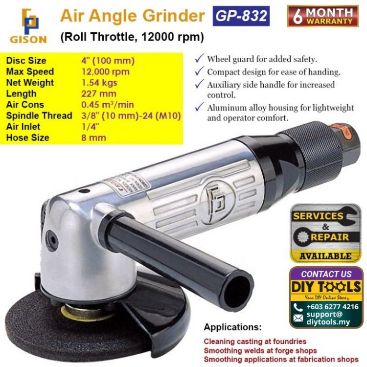 GISON 4″ Air Angle Grinder (Roll Throttle ,12000RPM) GP-832