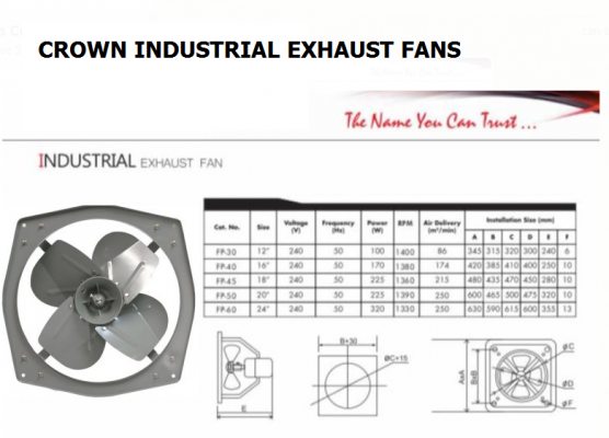 "CROWN 24"" FP60 Heavy Duty Industrial Exhaust Fan"