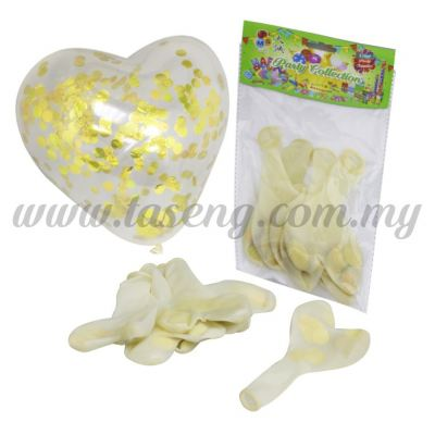 12 inch Clear Heartshape Balloon With Confetti 5pcs (B-CHS5C)