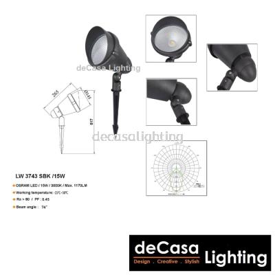 OUTDOOR LED SPIKE LIGHT LW-3743-SBK-15W