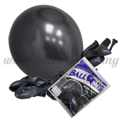 12 inch Metallic Round Balloon -Black 100pcs (B-12BK-M8)