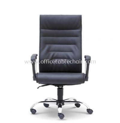 COLOGNE DIRECTOR HIGH BACK LEATHER CHAIR C/W CHROME METAL BASE
