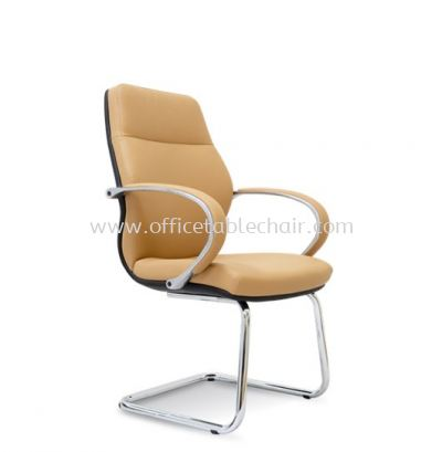 BUSSELTON DIRECTOR VISITOR LEATHER CHAIR C/W CHROME CANTILEVER BASE