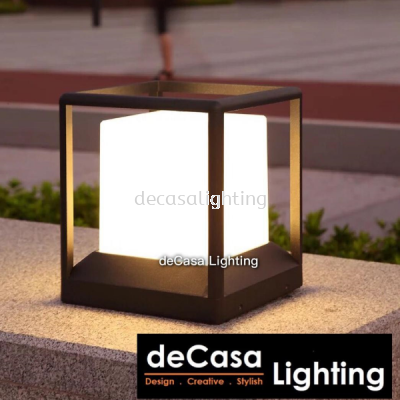 20cm Modern Black Cube Outdoor Pillar Light Decasa Lighting Weather Proof