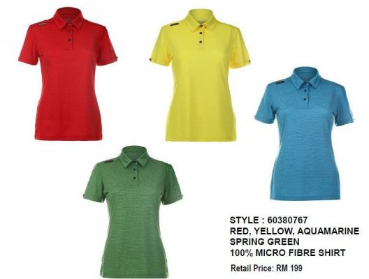 CREST LINK LADIES COLLECTION RED/YELLOW/AQUAMARINE/SPRING GREEN 100% MICROFIBER SHIRT
