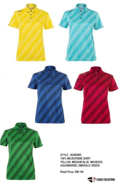 CREST LINK LADIES COLLECTION  100% MICROFIBER SHIRT YELLOW/MEDIUM BLUE/MAGENTA/AQUAMARINE/EMERALD