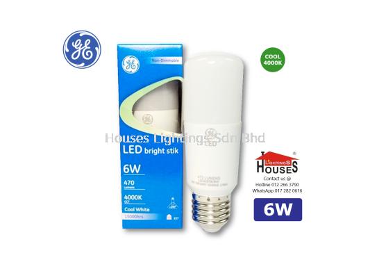 GE LED BRIGHT STIK 6W COOL WHITE 4000K E27 74352