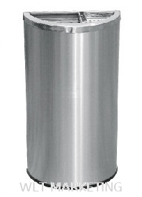 Stainless Steel Semi Round Bin c/w 1/3 Ashtray 2/3 Open Top SRB-054/H