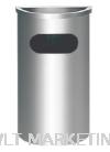 Stainless Steel Semi Round Bin c/w Ashtray Top SRB-038/A Stainless Steel Bin Hotel Supply