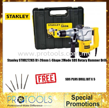 STANLEY STHR272KS 26MM 850W 5KG L-SHAPE HAMMER FOC 5PCS DRILL BIT