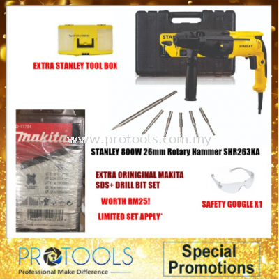 STANLEY SHR263KA 2KG 26MM 3MODE HAMMER WITH STANLEY BITS FOC 3 THING!