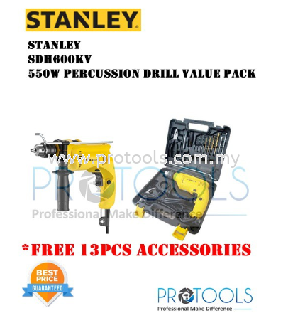 STANLEY SDH600KV PERCUSSION DRILL - FREE 13PCS ACCESSORIES - 2 years warranty