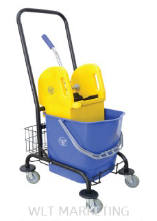Single Wringer Bucket c/w Trolley & Basket (Down Press)