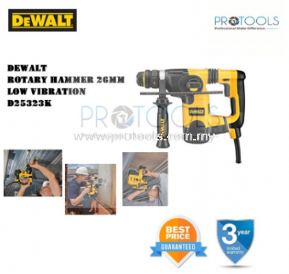 DEWALT D25323K 26MM SDS PLUS COMBINATION HAMMER ROTARY HAMMER - 3 YEAR WARRANTY