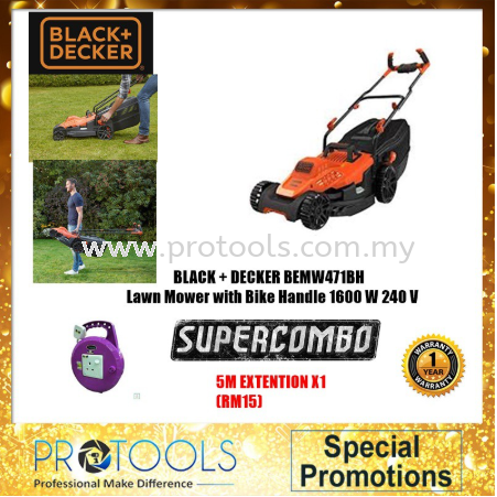 BLACK & DECKER BEMW471BH LAWN MOWER 1600W FOC 5METER EXTENTION - 1 YEAR WARRANTY