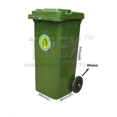 120L Plastic Dustbin / Garbage Bins with Wheels / Tong Sampah Beroda (Green)