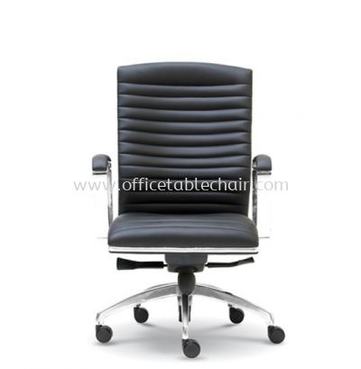 ZICA DIRECTOR MEDIUM BACK LEATHER CHAIR WITH CHROME TRIMMING LINE