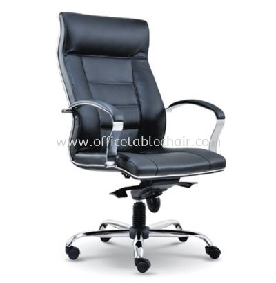 CITRUS DIRECTOR HIGH BACK LEATHER CHAIR WITH CHROME TRIMMING LINE