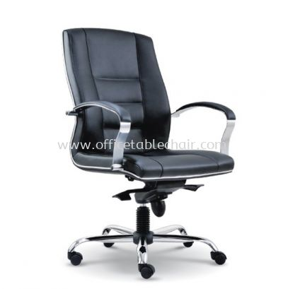 CITRUS DIRECTOR MEDIUM BACK LEATHER CHAIR WITH CHROME TRIMMING LINE