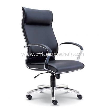 CONTI DIRECTOR HIGH BACK LEATHER CHAIR WITH CHROME TRIMMING LINE