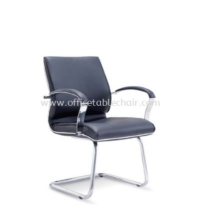 CONTI DIRECTOR VISITOR LEATHER ARM CHAIR WITH CHROME TRIMMING LINE