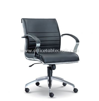 DRECTOR EXECUTIVE LOW BACK LEATHER CHAIR WITH CHROME TRIMMING LINE