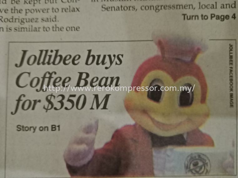 PHILIPPINES' JOLLIBEE BUYS COFFEE BEAN