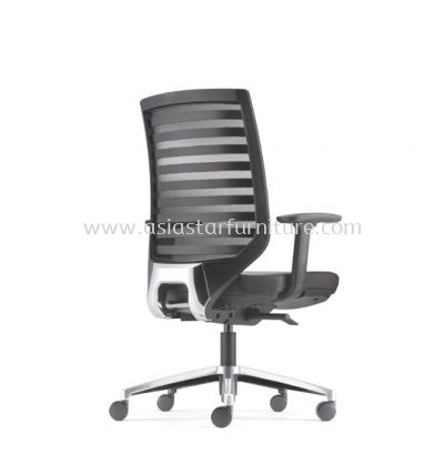 ZENITH MEDIUM BACK MESH CHAIR C/W ROCKET ALUMINIUM BASE (LEATHER) AZN 8211L
