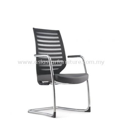ZENITH VISITOR MESH BACK CHAIR C/W CHROME CANTILEVER BASE (LEATHER) AZN 8213L