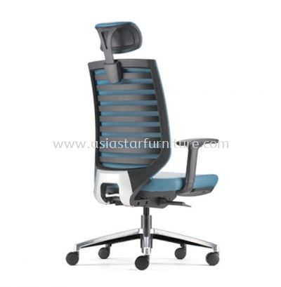 ZENITH HIGH BACK PU CHAIR C/W ROCKET ALUMINIUM BASE AZN 8210P