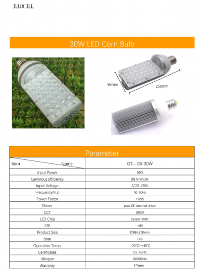 JLUX LED HALF CORN BULB 30W 3000K E40 TO REPLACE SON LAMPS STREET LANTERN