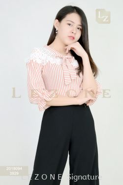 2019094 PLUS SIZE STRIPED LACE BLOUSE