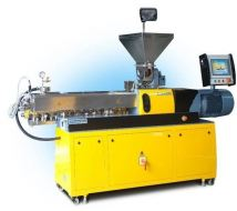 Modular co-rotating twins screw extruder with segmented screws and barrel inserts