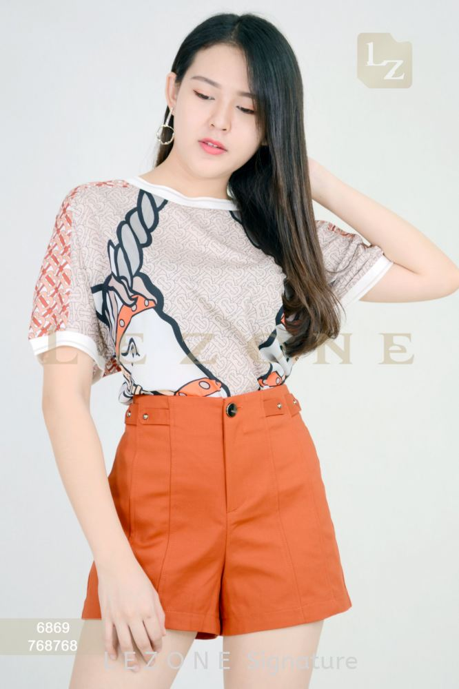 6869 PRINTED DEATIL BLOUSE 【1st 35% 2nd 45% 3rd 55%】