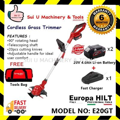 Europa Hilt E20GT Cordless Grass Trimmer With Starter Kit 2.0 (2pcs 4.0Ah Battery, 1pc Charger, 1pc