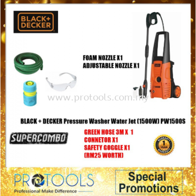 PW1500S-XD BLACK & DECKER 1500W HIGH PRESSURE WASHER FOC 3 THING!