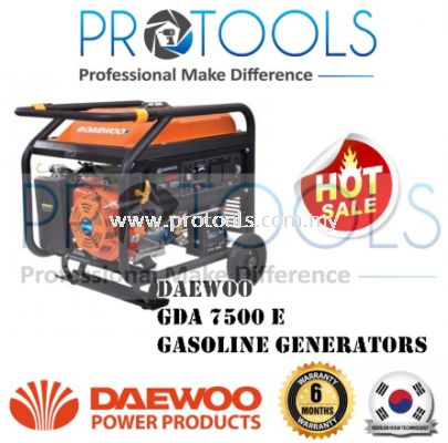 Daewoo GDA7500E Gasoline Generator 6.5kW (Electric Start) - 6 MONTH WARRANTY