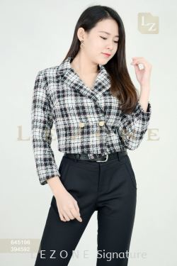 645196 PLAID CROPPED JACKET 【2ND 50%】
