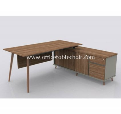 VISTA EXECUTIVE TABLE WOODEN LEG C/W SIDE CABINET