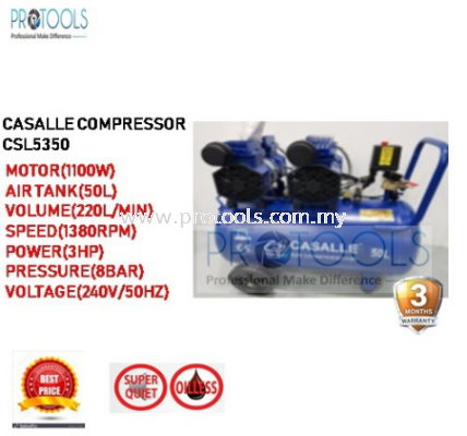 CASALLE AIR COMPRESSOR CSL5350 - OILESS - SILENT COMPRESSOR - 3 MONTH WARRANTY